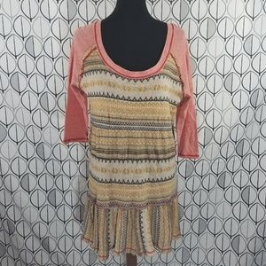 Free People Boho Drop waist Raglan Raw Hem Dress